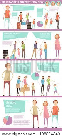 Adults abuse children inforgaphics with characters of parents and teenagers diagrams speech bubbles with editable text vector illustration