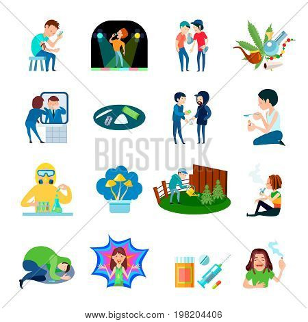 Narcotic substance illegal production and use isolated compositions set with cartoon people characters and drug images vector illustration