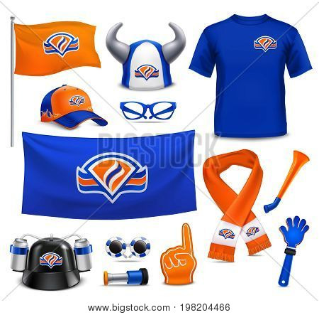 National sport team supporters realistic accessories collection in royal dutch colors with hat flag scarf vector illustration