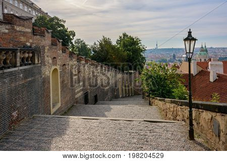 Castle steps - Zamecke schody in Prague Castle, Hradcany, Prague, Czech Republic