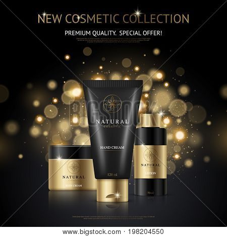 Cosmetic brand design advertising poster with collection of beauty products and packaging with golden flecks background vector illustration