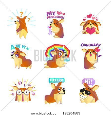 Funny corgi dog cartoon character icons collection with question rainbow love and congrats message isolated vector illustration