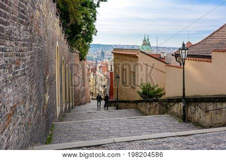 Castle Stairs of Hradcany Castle in Mala Strana, Prague, Bohemia