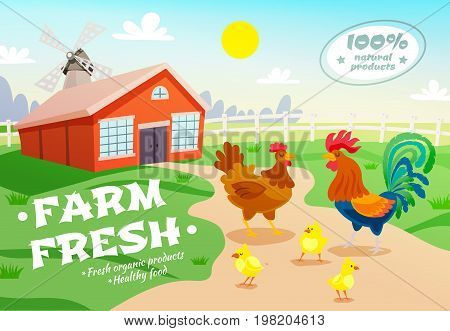Poultry farm healthy organic food composition with flat suburban scenery hen house and group of chicken vector illustration