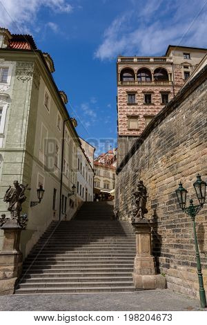 Old stone staircase leading to Prague Castle, Hradcany, Prague, Bohemia, Czech Republic