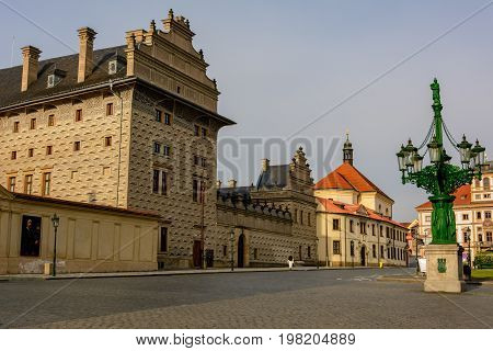 Schwarzenberg Palace on Hradcany Square at early morning, Bohemia