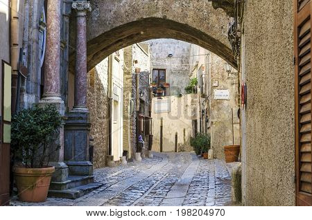 Entries with ionic columns of marble streets with drawings of cobblestones and gothic arches characterize this city
