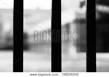 Vertical black and white prison cell bokeh background hd