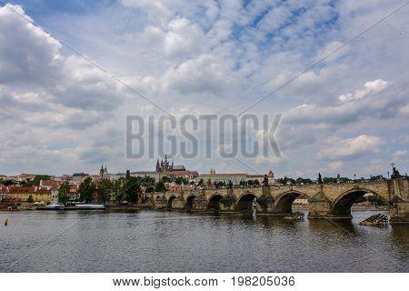 Charles Bridge on the Vltava river in Prague, Czech Republic
