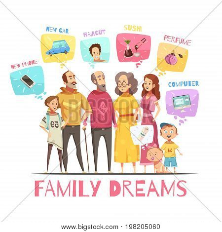 Family dreaming design concept with icons of big family members and their dreams decorative images flat cartoon vector illustration