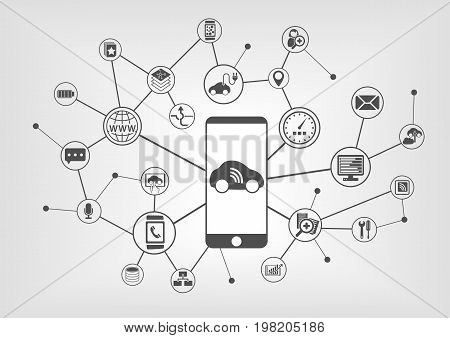 Digital mobility concept with connected devices such as car, smart phone. Vector icons on grey background