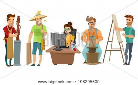 Creative freelance people at work in studio with artist sculptor journalist and potter cartoon images set vector illustration