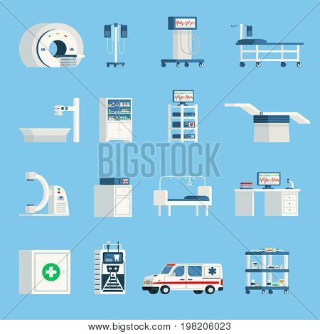 Hospital equipment orthogonal flat icons set of high-tech devices for surgery and examination of patient isolated vector illustration