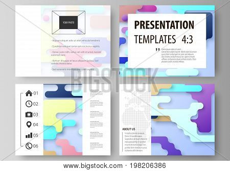 Business templates for presentation slides. Abstract vector design layouts. Bright color lines and dots, colorful minimalist backdrop with geometric shapes forming beautiful minimalistic background.