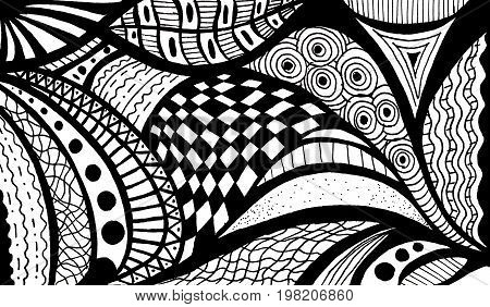 Abstract Black And White Wave Pattern