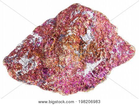 Red Chalcopyrite Stone Isolated On White