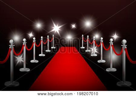 Realistic vector red event carpet , silver barriers and flashes. Design template, EPS10 illustration.