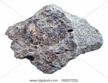 Gray Porous Basalt Stone Isolated