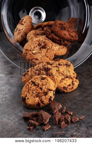 Chocolate Cookies On White Background. Chocolate Chip Cookies Sh