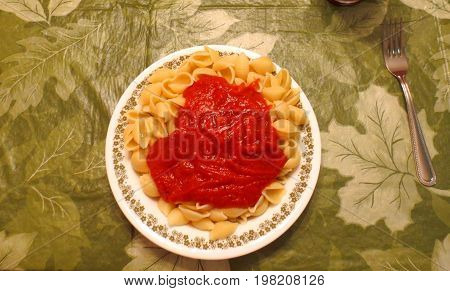 plate of pasta shells with marinara sauce on table with green leaf tablecloth and fork