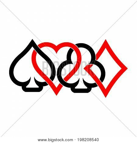 Poker card suits - hearts, clubs, spades and diamonds - on white background. Casino gambling theme vector illustration. Black and red outline shapes partly overlapping.