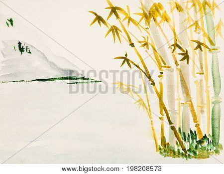 Landscape With Bamboo Grove And Mountain