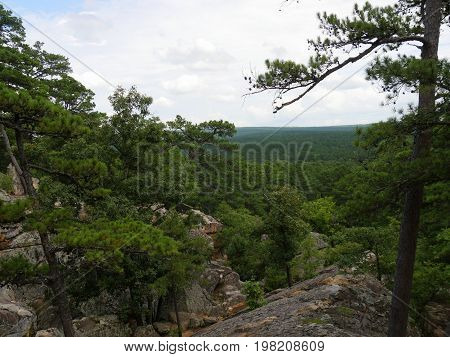 Scenic landscape of the Sans Bois Mountains seen from the top of Robbers Cave State Park in Wilburton, Oklahoma