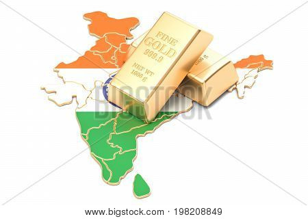 Foreign-exchange reserves of India concept 3D rendering isolated on white background