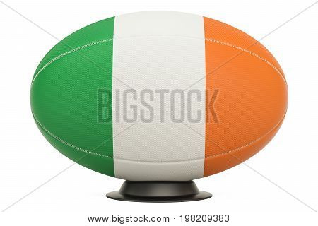 Rugby Ball with flag of Ireland on the ball stand 3D rendering
