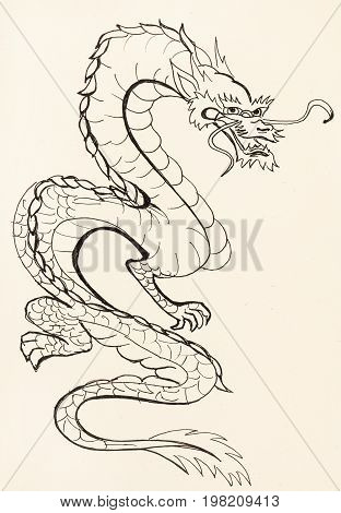 Dragon On Ivory Colored Paper