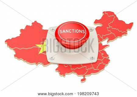 Sanctions button on map of China 3D rendering isolated on white background
