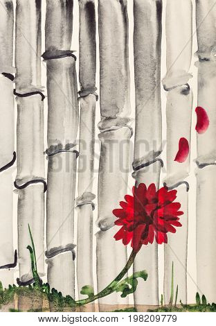 Red Chrysanthemum Flower And Bamboo Grove
