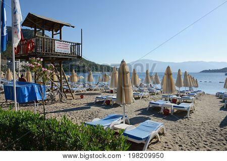 Icmeler, Turkey, July 2, 2017. . Summer beach