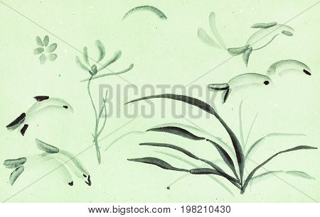 Brushstrokes Of Flowers, Grass, Fishes