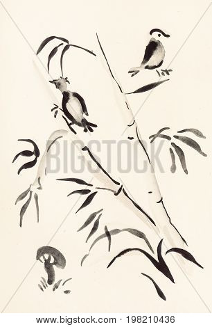 Birds On Bamboo And Mushroom On Ivory
