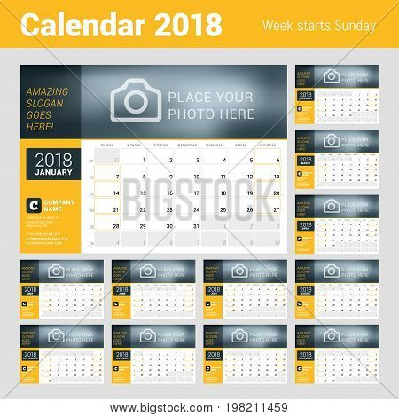 Calendar Planner For 2018 Year. Vector Design Template With Place For Photo. Week Starts On Sunday.
