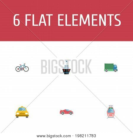 Flat Icons Luxury Auto, Bicycle, Streetcar And Other Vector Elements
