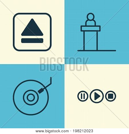 Music Icons Set. Collection Of Song UI, Rostrum, Gramophone And Other Elements