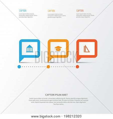 Education Icons Set. Collection Of Graduation, Education Center, Measurement And Other Elements