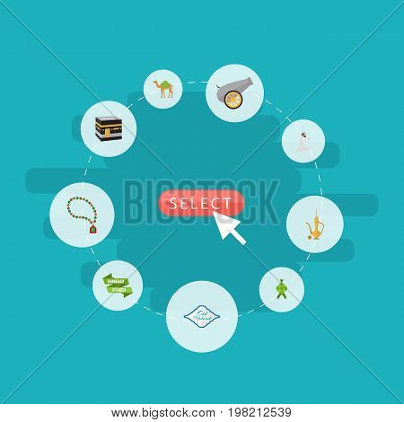 Flat Icons Dromedary, Mecca, Praying Man And Other Vector Elements