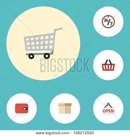 Flat Icons Trolley, Purse, Sign And Other Vector Elements