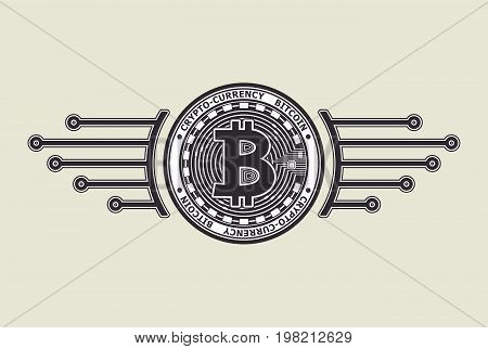 Crypto-currency bitcoin emblem or symbol black on white for icon  or for news about internet money or for advertising e-business