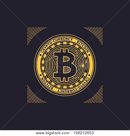 Crypto-currency bitcoin emblem or symbol gold on black for icon  or for news about internet money or for advertising e-business