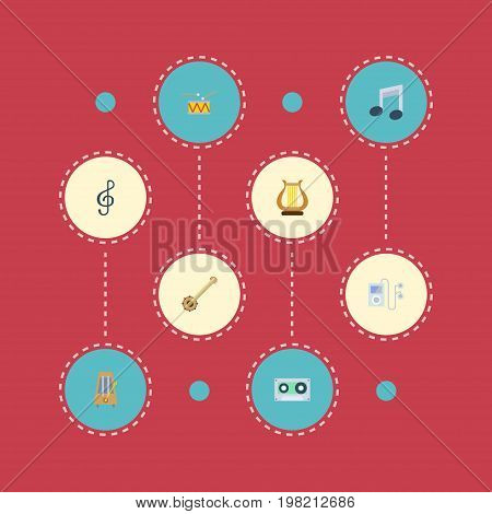 Flat Icons Rhythm Motion, Quaver, Banjo And Other Vector Elements
