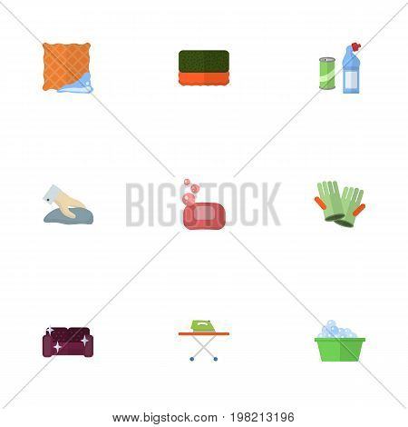 Flat Icons Wisp, Laundry, Gauntlet And Other Vector Elements
