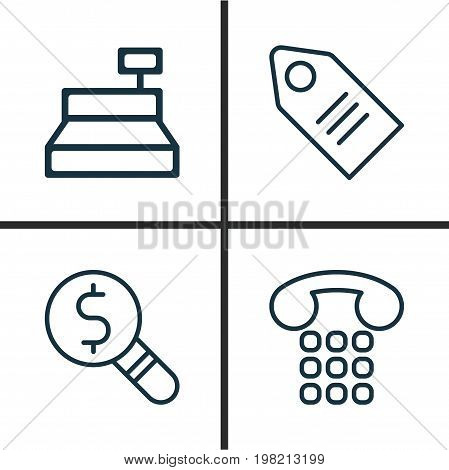Ecommerce Icons Set. Collection Of Till, Callcentre, Ticket And Other Elements