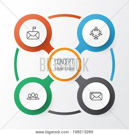 Social Icons Set. Collection Of Society, Mailbox, Significant Letter And Other Elements