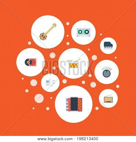 Flat Icons Knob, Retro Disc, Octave Keyboard And Other Vector Elements