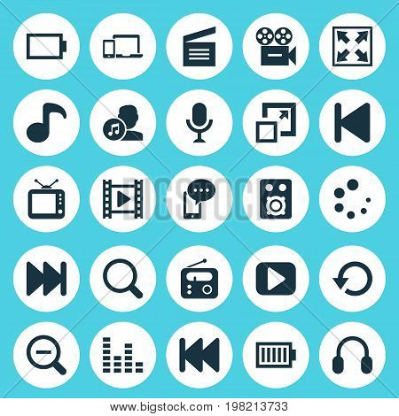 Music Icons Set. Collection Of Tuner, Quaver, Speaker And Other Elements