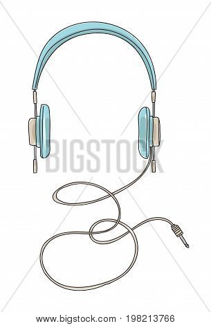 blue headphones stereo vintage hand drawn cut vector illustration